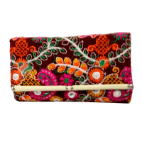 Handcrafted Multicoloured Purse With Detailed Embroidery and Mirror Designs