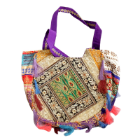 Handcrafted Net Embroidered Tote Bag For Work in Purple Colour