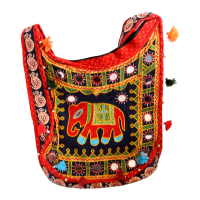 Kanta Banjara Orange & Black Coloured Handbag With Elephant Design
