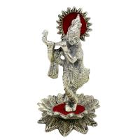Krishna playing flute oxidised metal statue