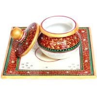 Marble Hand Dibbi Meenakari Beads Pooja Plate