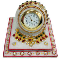 Marble paperweight style clock with heavy meena work