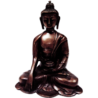 Meditative mahatma buddha statue in brass metal
