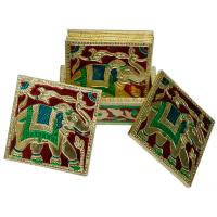 Meenakari Tea Coaster Set in Wood & Metal