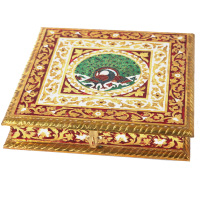 Metal Sheet on Wood Dryfruit Box with Meenakari Work