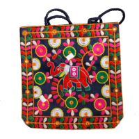 Multi-Colour Tote Bag with Handicraft Deisgns & Elephant Design