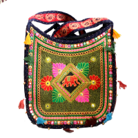 Multicolour Leaf -Cut Vibrant Hanging Bag With Broad Handle