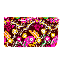 Multicoloured Embroidery Designs On Small Clutch With Mirrors