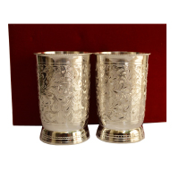 Ornate German Silver Glass Set