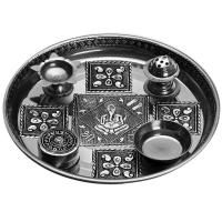 Oxidized Steel pooja thali