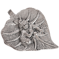 Oxidised baal krishn wall hanging arted on peepal leaf