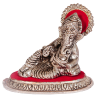 Oxidised ganesh ji embedded in red singhasan