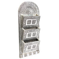 Oxidised triple column  letter holder