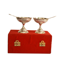 Pair of German Silver Ice-cream Bowls with Spoons