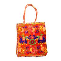 Peach Coloured Bucket Bag With Blue Elephant Designs