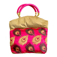 Pink and Golden Clutch Handle Bag With Golden Traditional Designs