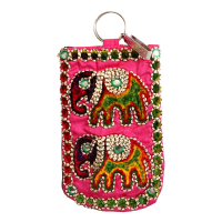 Pink Small Clutch Bag With Elephant Embroidery For Ethnicity