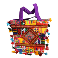 Pretty and Colourful Tote Bag With Detailed Embroidery Work