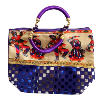 Purple Ladies Hand Bag With Stylish Handle and Rajasthani Dancing Men Image