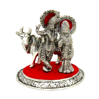 Radha Krishna with cow statue in oxidised metal with base.