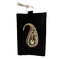 Rectangular Black Jute Clutch Bag With Zip Holder and Stone Designs