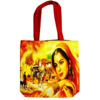 Rectangular Boho Small Handle BagWith Rajasthani Lady Image