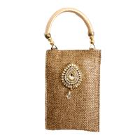 Rectangular Jute Fabric Small Clutch Bag With Stone Design Work
