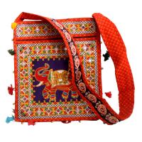 Rectangular Orange Cotton Fabric Elephant Bag With Handle
