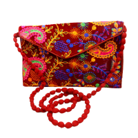 Red Coloured Embroidered Clutch Bag With Sling Handle