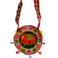 Round Shaped Multicoloured Embroidered Long Handle Bag