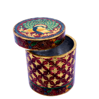 Round Shaped Multipurpose Box with Meenakari Work