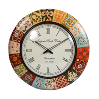 Round Shaped Wooden Wall Clock with Multicolor Border