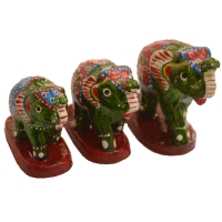 Set of 3 Wooden Elephant Figurines with Jaipur Meenakari