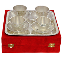 Set of 4 Cup & Saucer with Serving Tray in German Silver