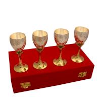 Set of 4 German Silver Wine Glasses in Dual Tones