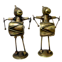 Set of brass made musician monkeys
