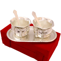 silver coloured twin bowl set made of german silver
