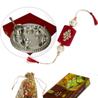 Silver Polish Pooja Thali With Accessories With Rakhi & Sweets