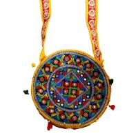 Sky Blue Circular Ethnic Bag With Long Handle