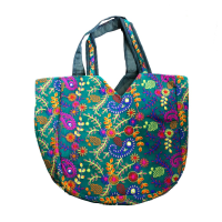 Sky Coloured Multicolour Embroidered Hobo Bag With Small Handle