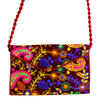 Small Brown Coloured Multcolour Ethnic Embroidered Clutch Bag