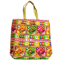 Square Shaped Multicolour Handle Bag With Detailed Embroidery Work