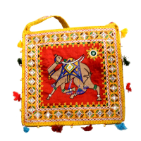Square Shaped Yellow Coloured Handcrafted Traditional Bag