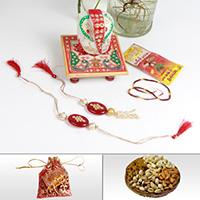 Suave Bhaiya Rakhi With Marble Ganesh Chowki & Chocolate