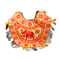 Traditional Indian Semi-Circular Bag With Elephant Designs in Red & Cream Colour