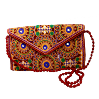 Traditional Looking Round Leaf Embroidererd Purse Bag
