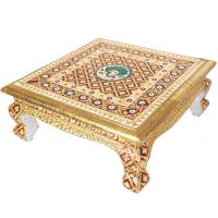 Traditional Metal Sheet on Wooden Chowki with Meenakari Work