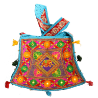 Traditional Sky Coloured Bucket Bag With Long Handle & Intricate Designs