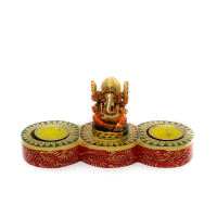 Twin T-light Candle Stand cum Ganesha Showpiece