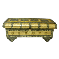 Uniquely shaped wooden pitari box designed with brass and resin all over the body